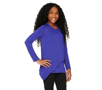 LOGO Littles by Lori Goldstein Knit Top with Front Overlay - A261877