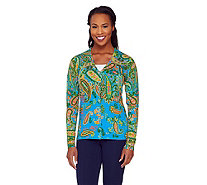 Isaac Mizrahi Live! Engineered Paisley Print Cardigan - A262077