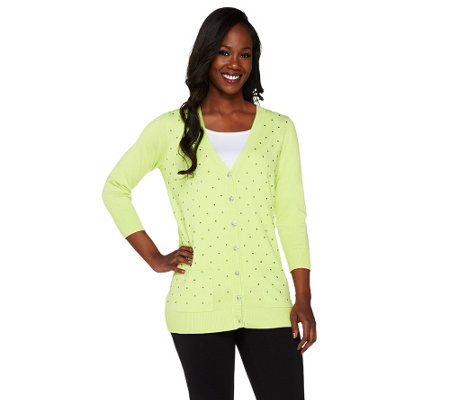 Quacker Factory Rhinestone Dots Button Down V-neck Cardigan