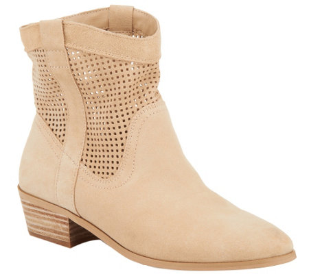Sole Society Perforated Suede Boots - Tashi