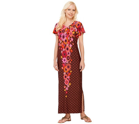 Bob Mackie's Short Sleeve Floral Printed Knit Caftan Dress