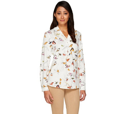 Kelly by Clinton Kelly Roll Tab Long Sleeve Blouse