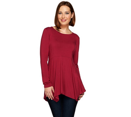 Linea by Louis Dell'Olio Long Sleeve Peplum Knit Tunic