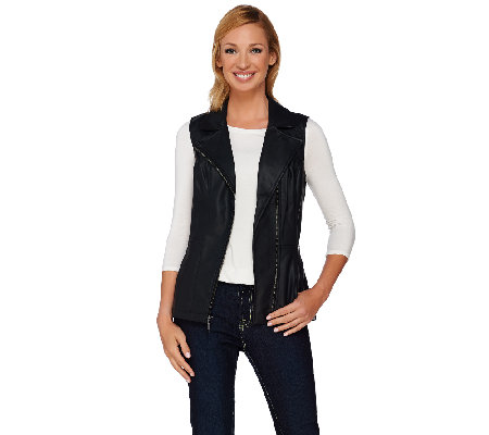 Denim & Co. Faux Leather Motorcycle Zip Front Vest