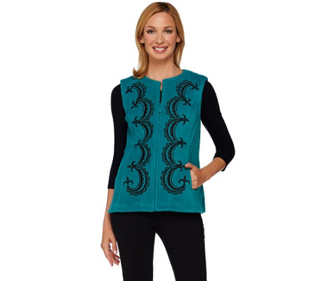 Bob Mackie's Embroiderd Zip Front Fleece Vest with Pockets