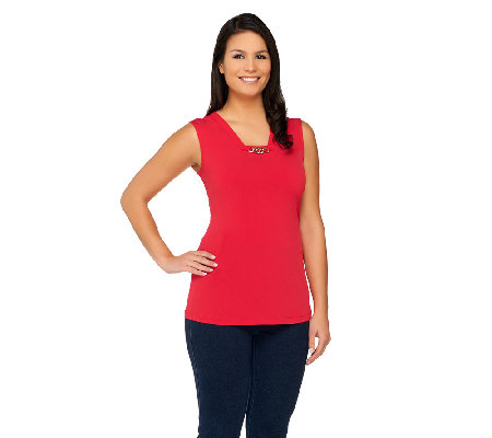 """As Is"" Susan Graver Liquid Knit Tank with Chain Trim Detail"