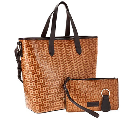Dooney & Bourke Woven Embossed Leather Shopper w/ Accessories