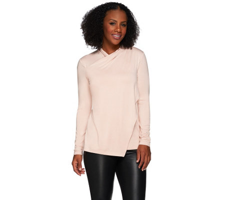 H by Halston Asymmetrical Wrap Long Sleeve Knit Top