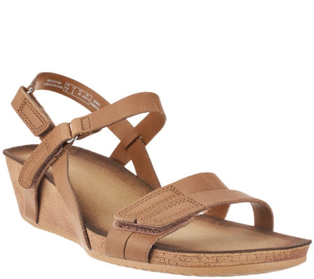 """As Is"" Clarks Leather Wedge Sandals - Alto Gull"