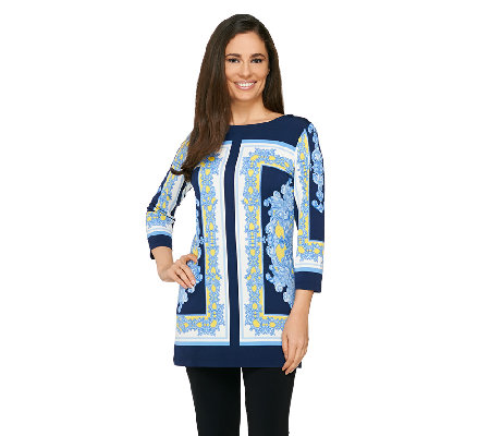 """As Is"" Susan Graver Border Printed Liquid Knit 3/4 Sleeve Tunic"