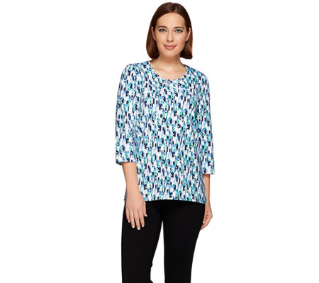 Denim & Co. Active Geo Print 3/4 Sleeve Round Neck Top