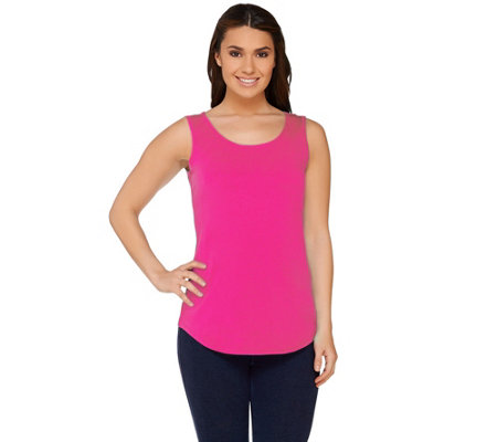 """As Is"" Susan Graver Essentials Cottom Modal Scoop Neck Top"