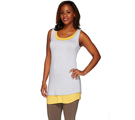 """As Is"" LOGO by Lori Goldstein Regular Heather & Solid Knit Tanks Twin Set"