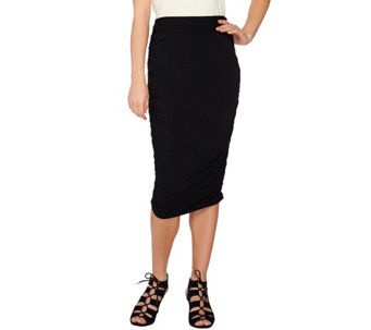 LOGO Layers by Lori Goldstein Pull-On Knit Skirt with Side Ruching - A273377