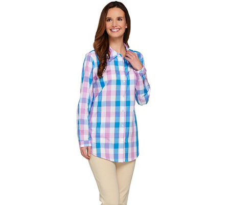 Joan Rivers Box Check Boyfriend Shirt