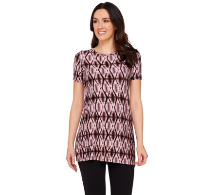 LOGO by Lori Goldstein Printed Knit Top with Side Pockets