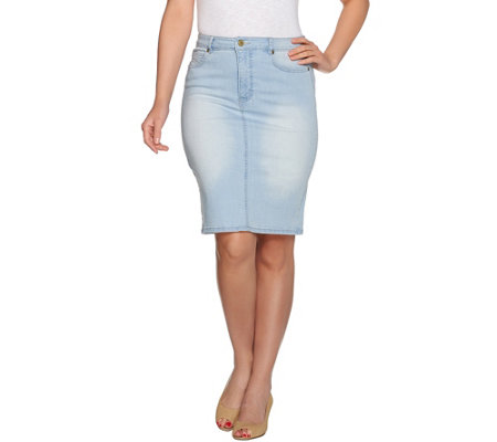 Isaac Mizrahi Live! TRUE DENIM 5-Pocket Denim Skirt