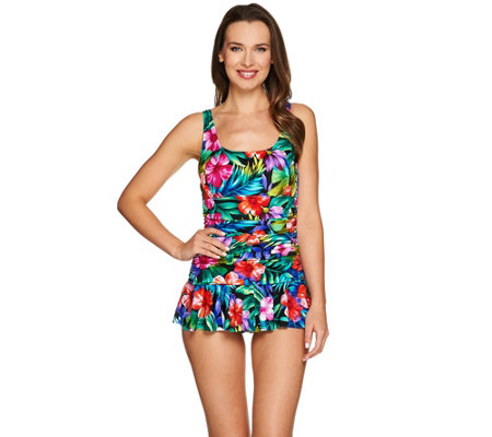 DreamShaper by Miraclesuit Mary Lou Ruched Swim Dress