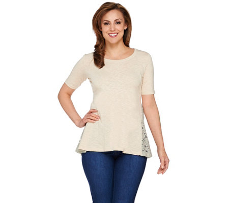 LOGO by Lori Goldstein Cotton Slub Knit Top with Lace Back