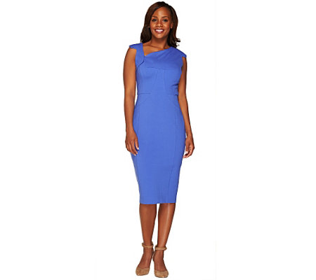 """As Is""G.I.L.I. Milano Ponte Dress with Asymmetric Neckline"