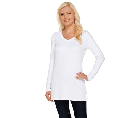 """As Is"" Isaac Mizrahi Live! Essentials Rounded V-Neck"