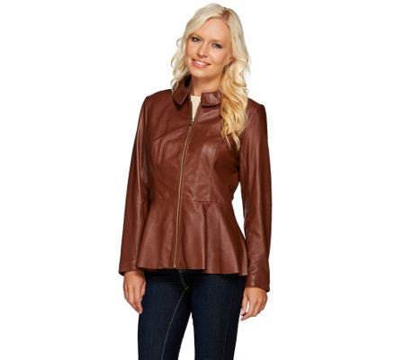 """As Is"" Isaac Mizrahi Live! Peplum Leather Jacket"