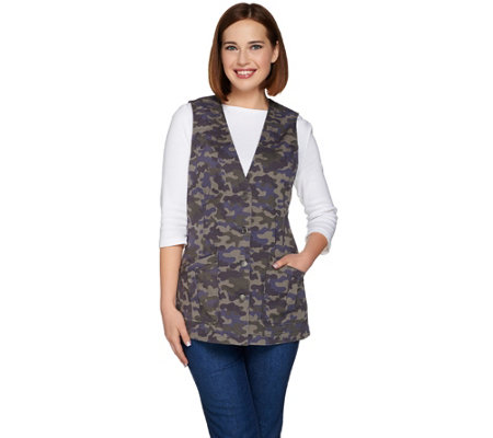 Denim & Co. Camo Printed Button Front Vest with Pockets