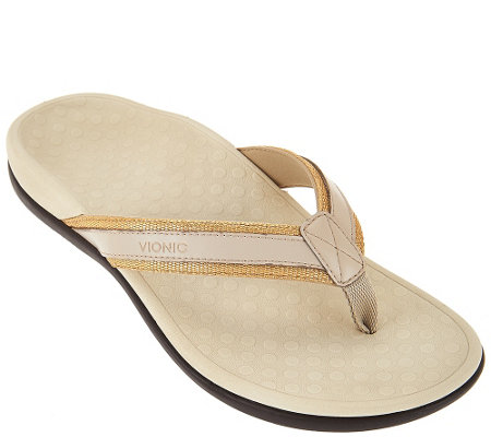 Vionic Leather & Mesh Thong Sandals - Tide Metallic