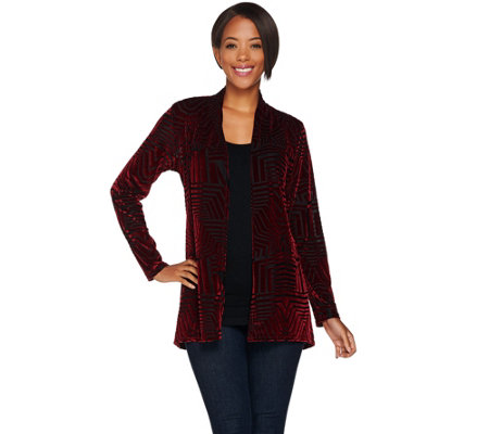 Susan Graver Burnout Velvet Long Sleeve Cardigan