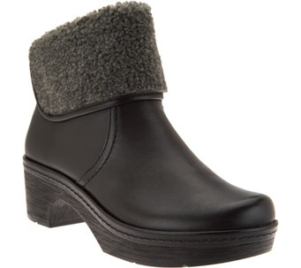 Clarks Leather Clog Boots with Faux Shearling -Preslet Pierce - A283777