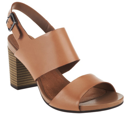 """As Is"" Clarks Leather Block Heel Sandals - Banoy Tulia"