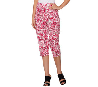 """As Is"" Susan Graver Printed Stretch Woven Zip Front Capri Pants - A285077"