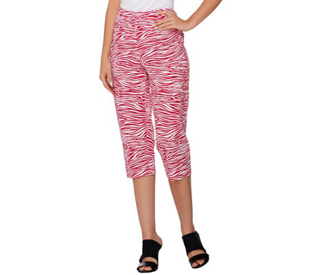 """As Is"" Susan Graver Printed Stretch Woven Zip Front Capri Pants"