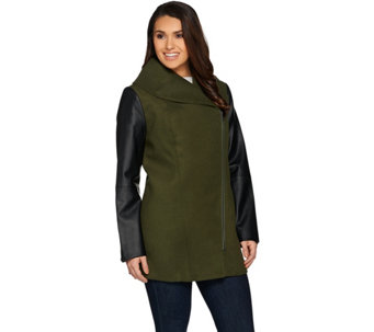 Lisa Rinna Collection Coat with Faux Leather Sleeves - A285577