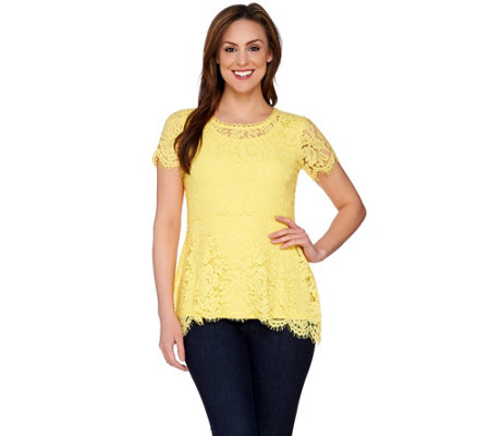 """As Is"" Isaac Mizrahi Live! Floral Lace Short Sleeve Peplum Top"