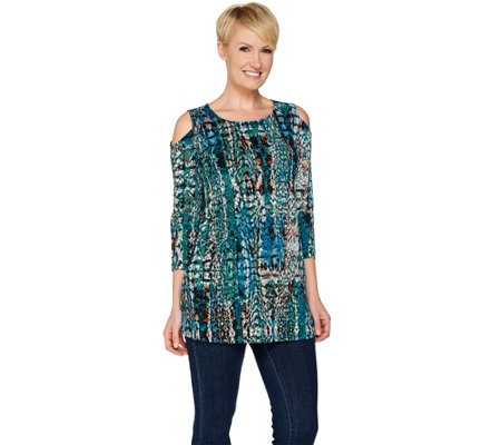 Attitudes by Renee 3/4 Sleeve Cold Shoulder Knit Tunic