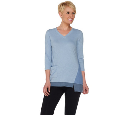 """As Is"" LOGO by Lori Goldstein Petite Color- Block Top with Ribbed Hem"