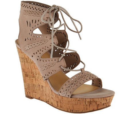 Marc Fisher Perforated Suede Lace-up Wedges - Hosana