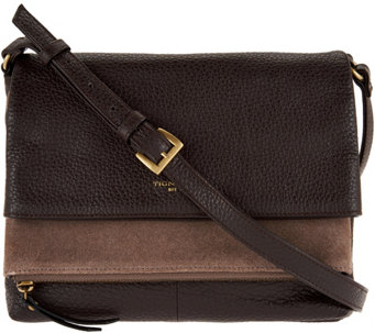 """As Is"" Tignanello Pebble & Suede Leather Multi- Pckt Crossbody - A289077"