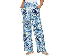 Denim & Co. Beach Regular Wide Leg Pull-On Knit Cargo Pants - A289177