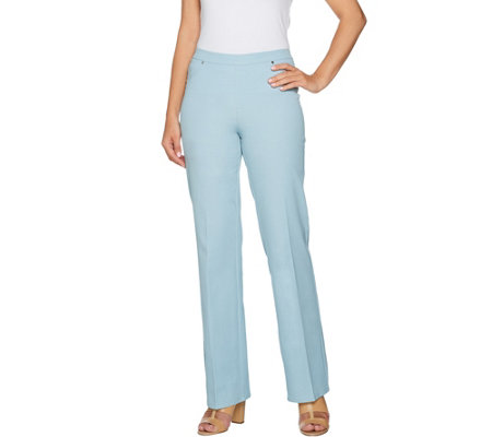 H by Halston Petite Studio Stretch Wide Leg Pull-on Pants