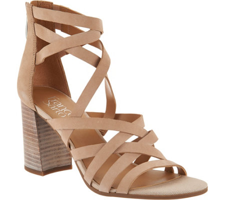 Franco Sarto Leather Block Heel Sandals - Madrid
