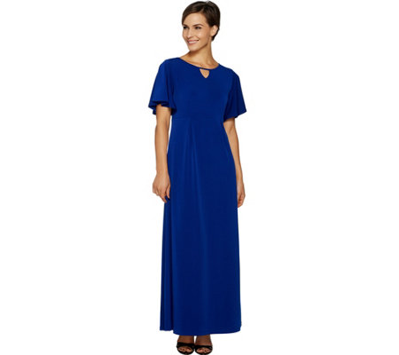 Susan Graver Petite Liquid Knit Maxi Dress with Flutter Sleeves