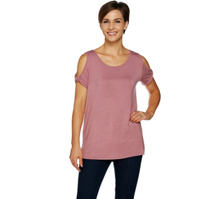 Lisa Rinna Collection Twist Cold Shoulder Knit Top