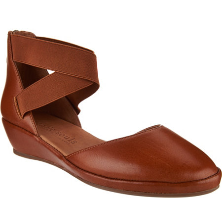 Gentle Souls Leather Two Piece Wedges - Noa