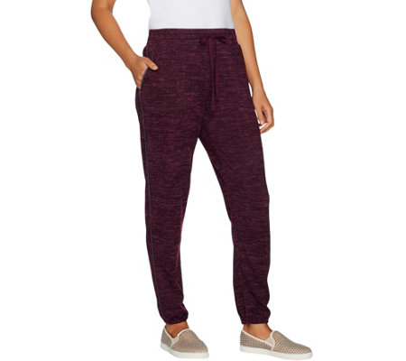 LOGO by Lori Goldstein Space Dye Jogger Pants w/ Suede Trim