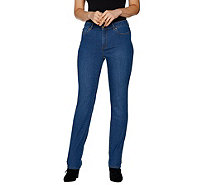 Susan Graver Regular Stretch Denim Straight Leg Fly Front Jeans - A294877