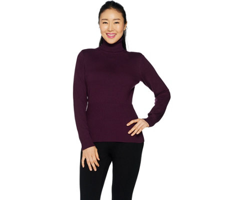 Linea by Louis Dell'Olio Whisper Knit Turtleneck with Rib Detail