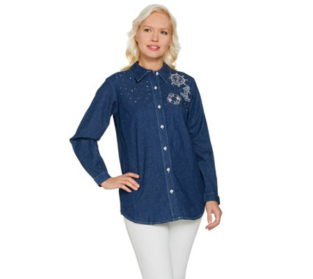 """As Is"" Quacker Factory Anchors Away Woven Button Front Shirt"