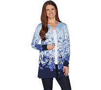 Isaac Mizrahi Live! Engineered Floral Jacquard Cardigan - A300877